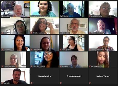 Tela de reunião virtual de treinamento de conselheiros, com participação de equipe operacional do CAU/BA